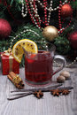 Mulled wine with spice and christmas tree spices decoration Stock Images