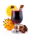 Mulled wine with spices isolated on white Stock Images