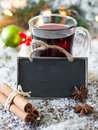 Mulled wine with a tag Royalty Free Stock Image