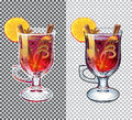Mulled wine transparent illustration. Autumn drink