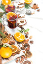 Mulled wine white background Hot red punch fruit and spices Royalty Free Stock Photo