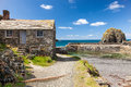 Mullion cove cornwall historic harbour at in mounts bay england uk europe Stock Images