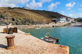 Mullion cove cornwall the small boat harbour at england uk europe Stock Image