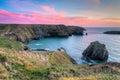 Mullion cove cornwall sunset overlooking on the lizard peninsula england uk europe Royalty Free Stock Photos