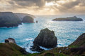 Mullion cove cornwall winters scene at england uk europe Royalty Free Stock Images