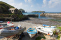 Mullion Cove harbour Cornwall UK the Lizard peninsula Mounts Bay near Helston Royalty Free Stock Photo