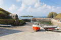 Mullion Cove harbour Cornwall UK the Lizard peninsula Mounts Bay near Helston Royalty Free Stock Photo