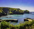 Mullion cove harbour picture taken of cornwall england Royalty Free Stock Photos