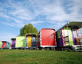 Multi color caravans Royalty Free Stock Images
