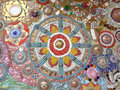 Multi Color Decorated Mosaic Wall of the Temple in Thailand
