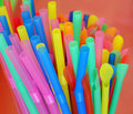 Multi color flexible straws in coffee shop Royalty Free Stock Photo