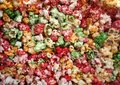 Multi color, sweet pop corn macro Stock Photos