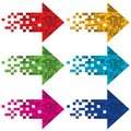 Multi colored arrows to indicate vector illustration Royalty Free Stock Image