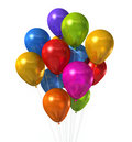 Multi colored balloons group isolated on white Stock Photos