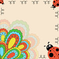 Multi colored card with ladybugs vector Stock Photo