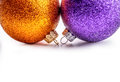 Multi colored christmas balls on white background. Royalty Free Stock Photo