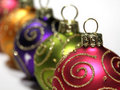 Multi colored Christmas baubles Royalty Free Stock Photography