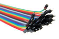 Multi colored computer network cables Royalty Free Stock Photo