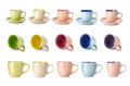 Multi colored cups on a white background Stock Photo