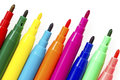 Multi colored felt tip pens Royalty Free Stock Photos