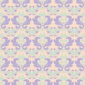 Multi colored floral seamless pattern. Beige background with violet and blue flower elements Royalty Free Stock Photo