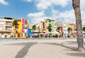 Multi-colored homes of La Vila Joiosa, Costa Blanca Spain. Royalty Free Stock Photo