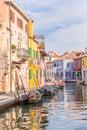 Multi-colored houses Burano island, Venice