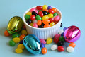 Multi colored jelly beans and Easter eggs