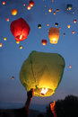 Multi-colored lanterns in the sky Stock Photography