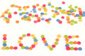 Multi colored love note written by candy Royalty Free Stock Photo