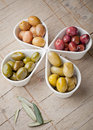 Multi colored olives Stock Photos