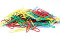 Multi-colored paper clips Royalty Free Stock Images