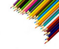 Multi colored pencils on white background Royalty Free Stock Photography