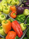 Multi-colored peppers at farmers' market Stock Images