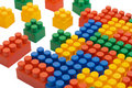 Multi-colored plastic blocks on white Royalty Free Stock Photos