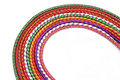 Multi-colored  rock climbing ropes in bundles Stock Images