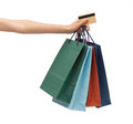Multi colored shopping bags and credit card closeup of Stock Photo