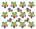 Multi-colored stylized flowers and butterflies Royalty Free Stock Image