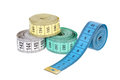 Multi colored tape line it is isolated on a white background Royalty Free Stock Image
