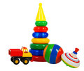 Multi colored toys isolated on a white background Royalty Free Stock Photos