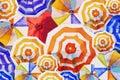 Multi colored umbrella, painting watercolor Top view.