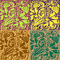 Multi colored unusual contours seamless pattern background with of various plants vector illustration Royalty Free Stock Photo