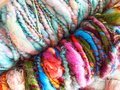 Multi-colored wool art yarn `Barbados`. Royalty Free Stock Photo