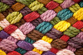 Multi colored woollen yarns Royalty Free Stock Photography