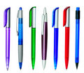 Multi-coloured ball pens Royalty Free Stock Photo
