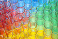 Multi coloured chemical samples in glasses Stock Photography