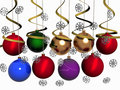 Multi-coloured Christmas balls with snowflakes Royalty Free Stock Photos