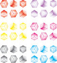 Multi-coloured cube set Stock Photo