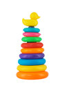 Multi-coloured plastic stacking rings toy isolated on white back Royalty Free Stock Photo