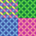 Multi-coloured set of seamless patterns with circles. Royalty Free Stock Photo